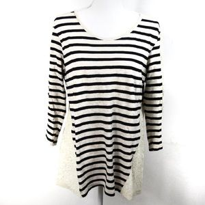 T534 Hannah Cream Black Stripe Lace Trim Top Med.